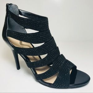 Nina Rhinestone gladiator open toes shoes.